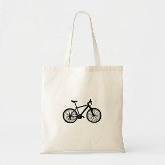 Bolso De Tela Bicicleta dibujada mano simple en blanco y negro