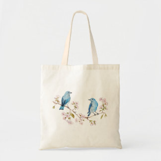 Bolso De Tela Bluebirds de la montaña en la rama de Sakura