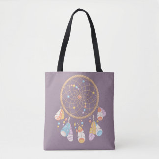 Bolso De Tela Boho tribal Dreamcatcher en púrpura