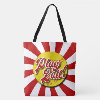 Bolso De Tela ¡Bola del juego! Tote rojo y blanco del softball