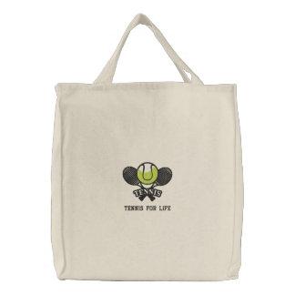 Bolso De Tela Bordado Estafas y bola de tenis personalizadas bordadas