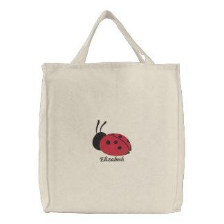 Bolso De Tela Bordado Señora roja linda Bug Personalized