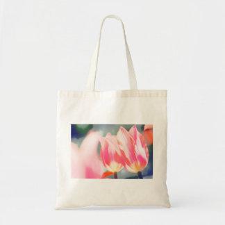 Bolso De Tela Bosquejo rosado del dúo del tulipán
