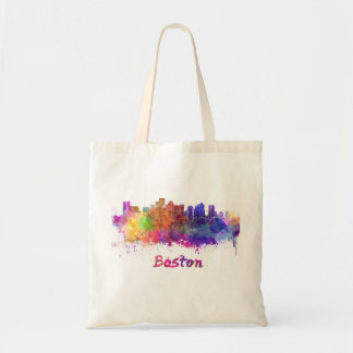 Bolso De Tela Boston skyline in watercolor