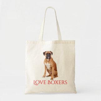 Bolso De Tela Boxeador rojo canino del perro de perrito del
