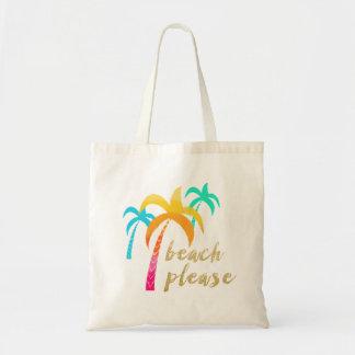 """Bolso De Tela brillo """"playa del oro por favor"""" con las palmas"""