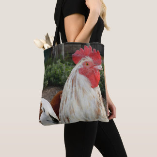 Bolso De Tela Brown y gallo manchado blanco,