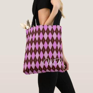 Bolso De Tela Brown y sombras del modelo púrpura de Argyle