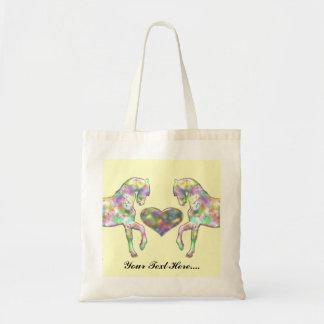 Bolso De Tela Caballo de los niños y corazón del amor