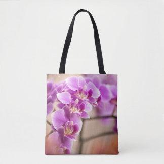 Bolso De Tela Cadena de flor de color rosa oscuro de la orquídea