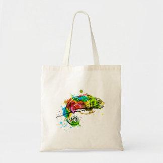 Bolso De Tela Camaleón coloreado del bosquejo de la mano