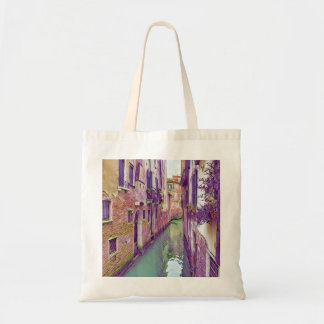 Bolso De Tela Canal hermoso de Venecia en sombras de la púrpura