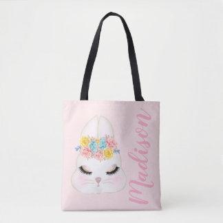 Bolso De Tela Cara rosada personalizada del conejito floral