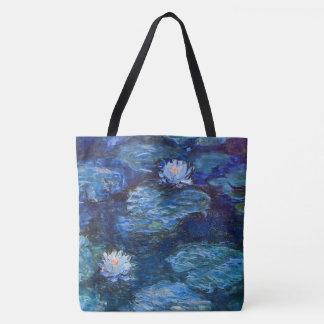 Bolso De Tela Charca del lirio de agua en azul por la bella arte