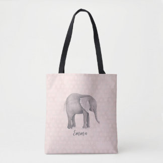Bolso De Tela Chica del elefante con el fondo geométrico rosado