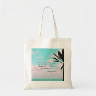 Bolso De Tela Cita de Mahatma Gandhi, playa tropical, inspirada