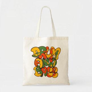 Bolso De Tela color del reggae del tambor y del bajo - logotipo,
