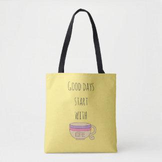 Bolso De Tela Comienzo de los buenos días con café
