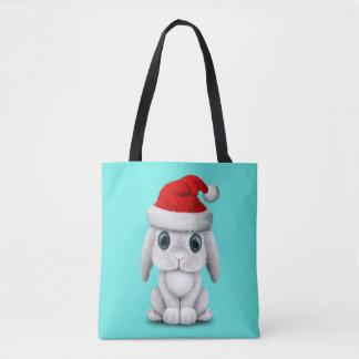 Bolso De Tela Conejito blanco del bebé que lleva un gorra de