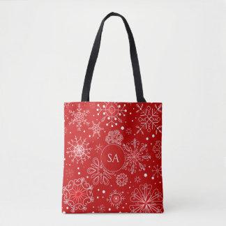 Bolso De Tela Copos de nieve hermosos en navidad rojo del fondo