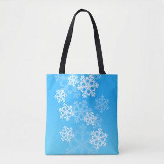 Bolso De Tela Copos de nieve lindos del navidad azul y blanco