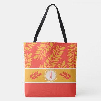 Bolso De Tela Coral con monograma y cabaña amarilla del verano