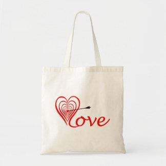 Bolso De Tela Corazón amor blanco con flecha