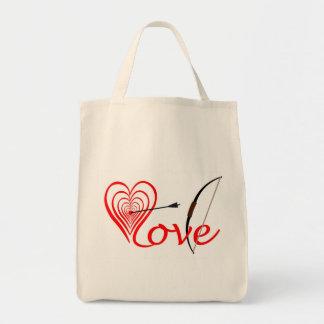 Bolso De Tela Corazón amor blanco con flecha y arco