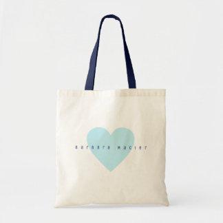 Bolso De Tela corazón azul simple y romántico