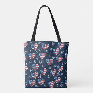 Bolso De Tela Corazón de la bandera americana