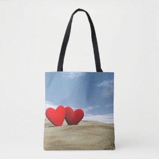 Bolso De Tela Corazón dos en la playa - 3D rinden