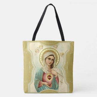 Bolso De Tela Corazón inmaculado del vintage de Maria w/cherubs