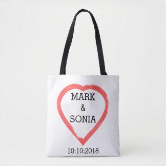 Bolso De Tela Corazón minimalista del boda de la acuarela