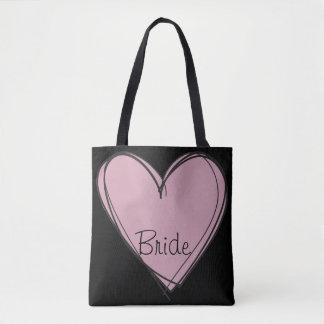 Bolso De Tela Corazón negro del rosa del tote para la novia
