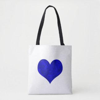 Bolso De Tela Corazón real de mármol del azul de cobalto