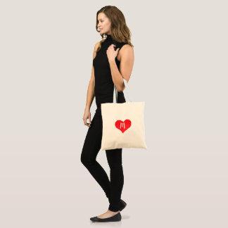 Bolso De Tela Corazón rojo de la acuarela personalizado