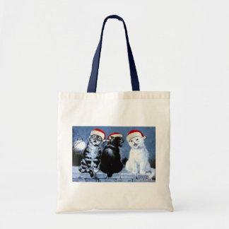 Bolso De Tela Coro de los gatos de Santa del navidad de Wain del
