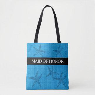 Bolso De Tela Criada de boda de playa de la arpillera del azul