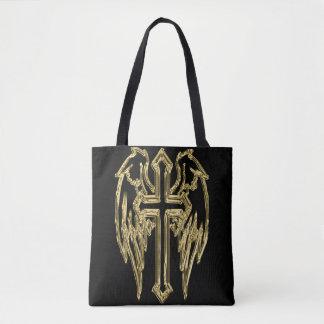 Bolso De Tela Cruz católica del oro con las alas