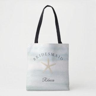 Bolso De Tela Dama de honor de la playa de la acuarela de las