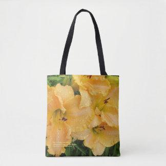 Bolso De Tela Daylilies color de rosa del día lluvioso del oro