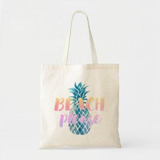 Bolso De Tela de la playa caligrafía por favor en la piña azul