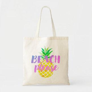 Bolso De Tela de la playa caligrafía por favor en la piña de la