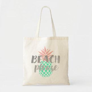 Bolso De Tela de la playa caligrafía por favor en la piña rosada