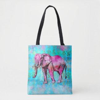 Bolso De Tela De moda azul del rosa de la acuarela del elefante