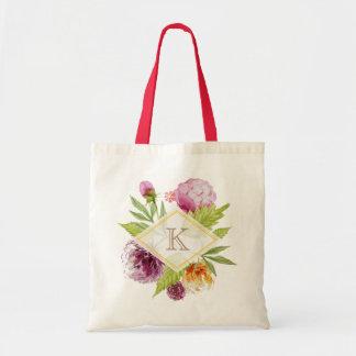 Bolso De Tela Decoración floral hermosa de las iniciales del
