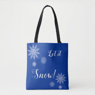 Bolso De Tela ¡Dejáis le nevar! Copo de nieve azul y blanco