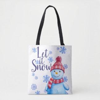 Bolso De Tela Dejáis le nevar muñeco de nieve con los copos de