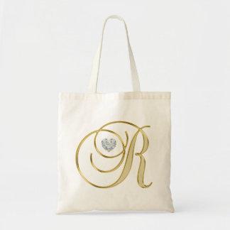 Bolso De Tela Diamante del corazón del oro de la letra inicial R