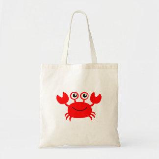 Bolso De Tela Dibujo animado rojo feliz del cangrejo